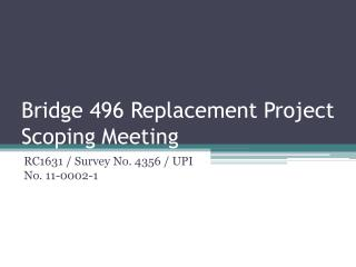 Bridge 496 Replacement Project Scoping Meeting