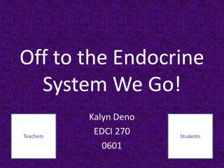 Off to the Endocrine System We Go!