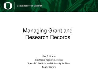 Managing Grant and  Research Records