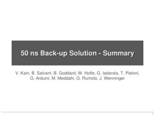 50 ns Back-up Solution - Summary