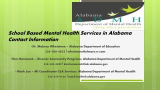 School Based Mental Health Services in  Alabama Contact Information