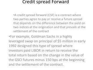 Credit spread Forward