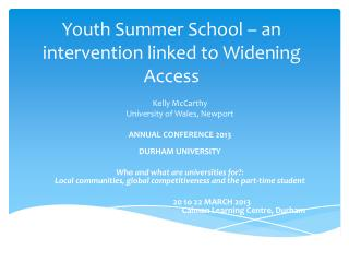 Youth Summer School – an intervention linked to Widening Access