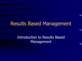 Results Based Management