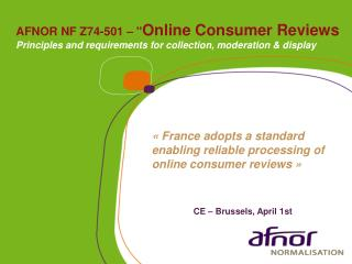 "AFNOR NF Z74-501 – "" Online  Consumer  Reviews"