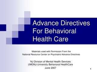 Advance Directives For Behavioral Health Care