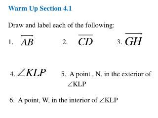 Warm Up Section 4.1 Draw and label each of the following: