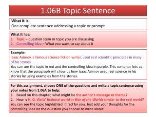 1.06B Topic Sentence
