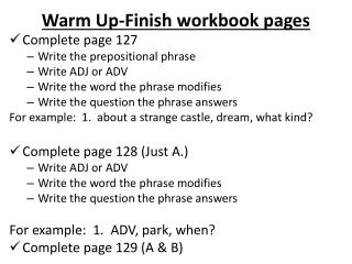 Warm Up-Finish workbook pages