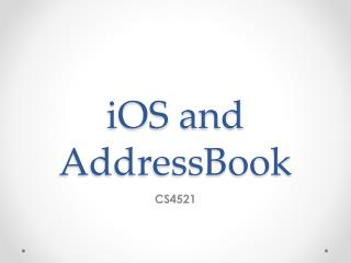 iOS  and  AddressBook