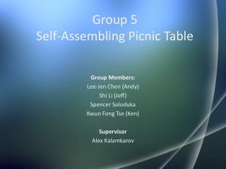 Group 5 Self-Assembling Picnic Table