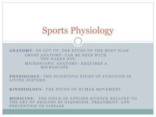 Sports Physiology