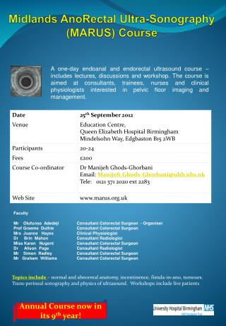 Midlands  AnoRectal  Ultra- Sonography   (MARUS) Course