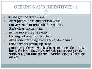 GERUNDS AND INFINITIVES - 1
