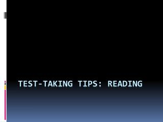 Test-taking tips: Reading