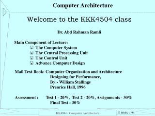 KK4504 : Computer Architecture