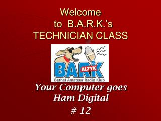 Welcome   to  B.A.R.K.'s TECHNICIAN CLASS