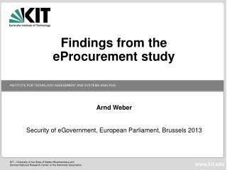 Findings from the  eProcurement  study