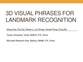 3D Visual Phrases for Landmark Recognition