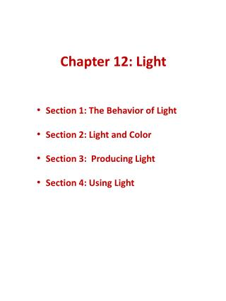 Chapter 12: Light