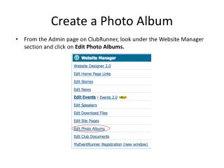 Create a Photo Album