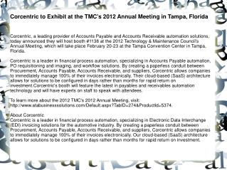 Corcentric to Exhibit at the TMC's 2012 Annual Meeting in Ta