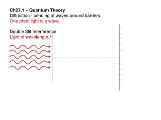Ch27.1 – Quantum Theory Diffraction - bending of waves around barriers.