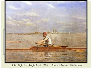 John  Biglin  in a Single Scull	1874	Thomas Eakins	Watercolor