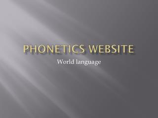 Phonetics Website