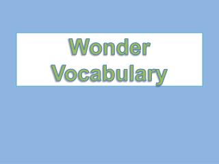 Wonder Vocabulary