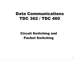 Data Communications TDC 362 / TDC 460