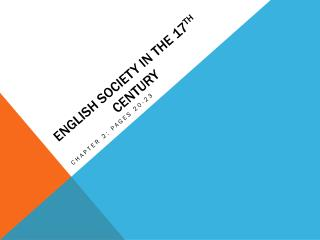 English Society in the 17 th  century