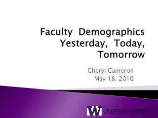 Faculty  Demographics Yesterday,  Today,   Tomorrow