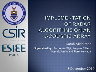 Implementation of Radar Algorithms on an Acoustic Array