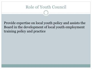 Role of Youth Council