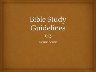 Bible Study Guidelines