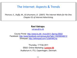 The Internet :  Aspects & Trends