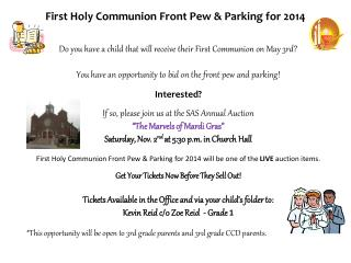 First Holy Communion Front  Pew  & Parking for  2014
