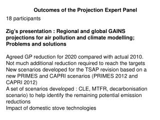 Outcomes of the Projection  Expert Panel