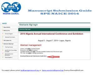 Manuscript Submission Guide SPE NAICE 2014