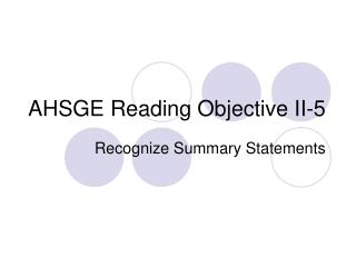 AHSGE Reading Objective II-5