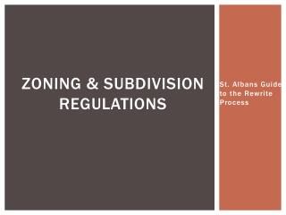 Zoning & Subdivision Regulations