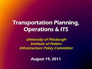 Transportation Planning, Operations & ITS