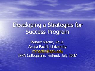Developing a Strategies for Success Program