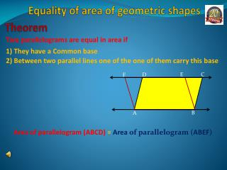 Equality of area of geometric shapes