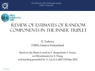 REVIEW OF ESTIMATES OF RANDOM COMPONENTS IN THE INNER TRIPLET