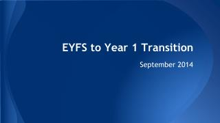EYFS to Year 1 Transition