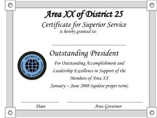 Area XX of District 25 Certificate for Superior Service