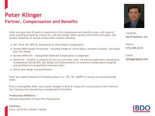 Peter Klinger Partner, Compensation and Benefits