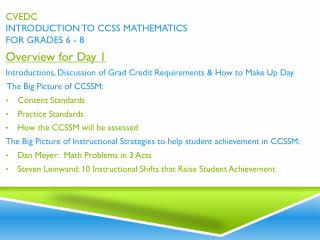 CVEDC Introduction to CCSS Mathematics for Grades 6 - 8